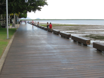 Obstructing pedestrians on the boardwalk along Trinity Inlet.